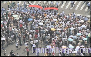 Stand-off with the armed police. (Photo provided by demonstrator)